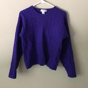 Jones New York lambswool cable beads sweater Sz L